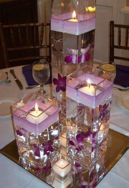 Floating Candle Centerpiece With Flower6