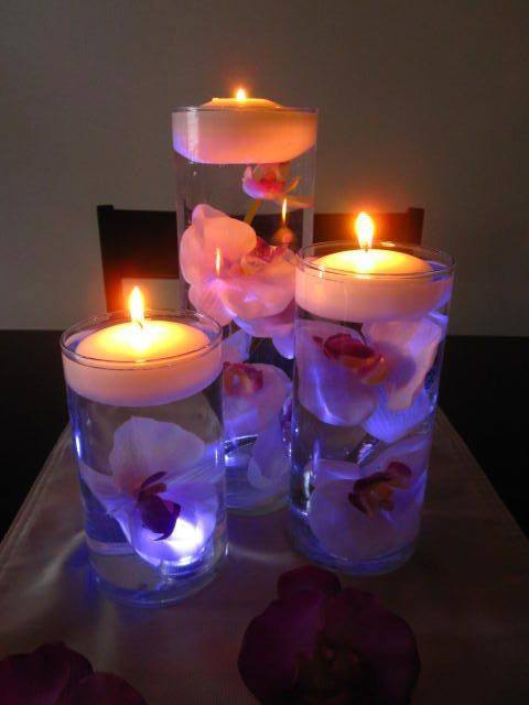 Floating Candle Centerpiece With Flower9