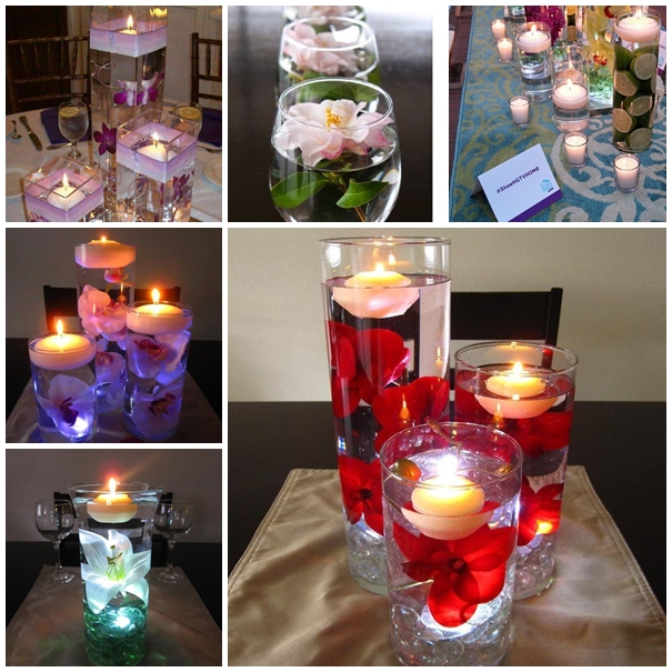 Floating Candle Centerpiece With FlowerF Wodnerful DIY Unique Floating Candle Centerpiece With Flower