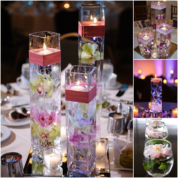 16 Stunning Floating Wedding Centerpiece Ideas: Wodnerful DIY Unique Floating Candle Centerpiece With Flower