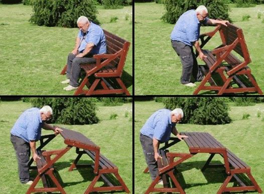 Folding Bench and Picnic Table Combo  Wonderful DIY 2 In 1 Folding Bench and Picnic Table