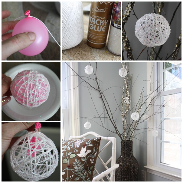 Glittery Snowballs christmas ornament diy F2 Wonderful DIY Glittery Snowball Ornaments for Christmas