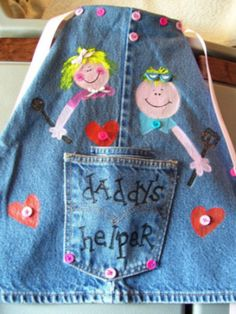 KIDS apron from old jeans 1 Wonderful DIY Easy Childrens Apron From Old Jeans