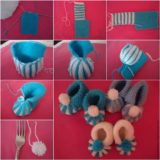 Wonderful DIY Cute Knitted Baby Booties With Pom Pom Decoration