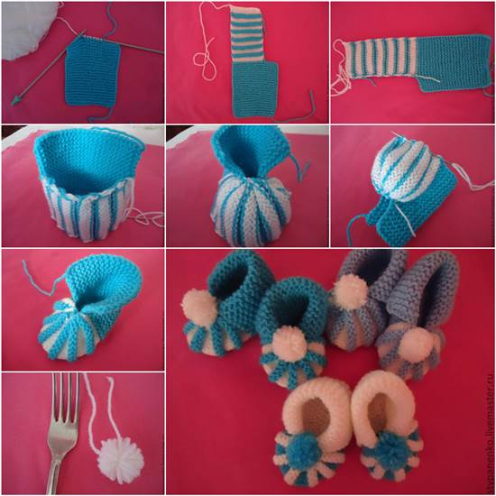 Knitted Baby Booties with pom pom decoration pattern DIY F Wonderful DIY Cute Knitted Baby Booties With Pom Pom Decoration