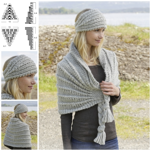 Knitted head band and shoulder piece F Wonderful DIY Pretty Knitted Scarf with Free Pattern