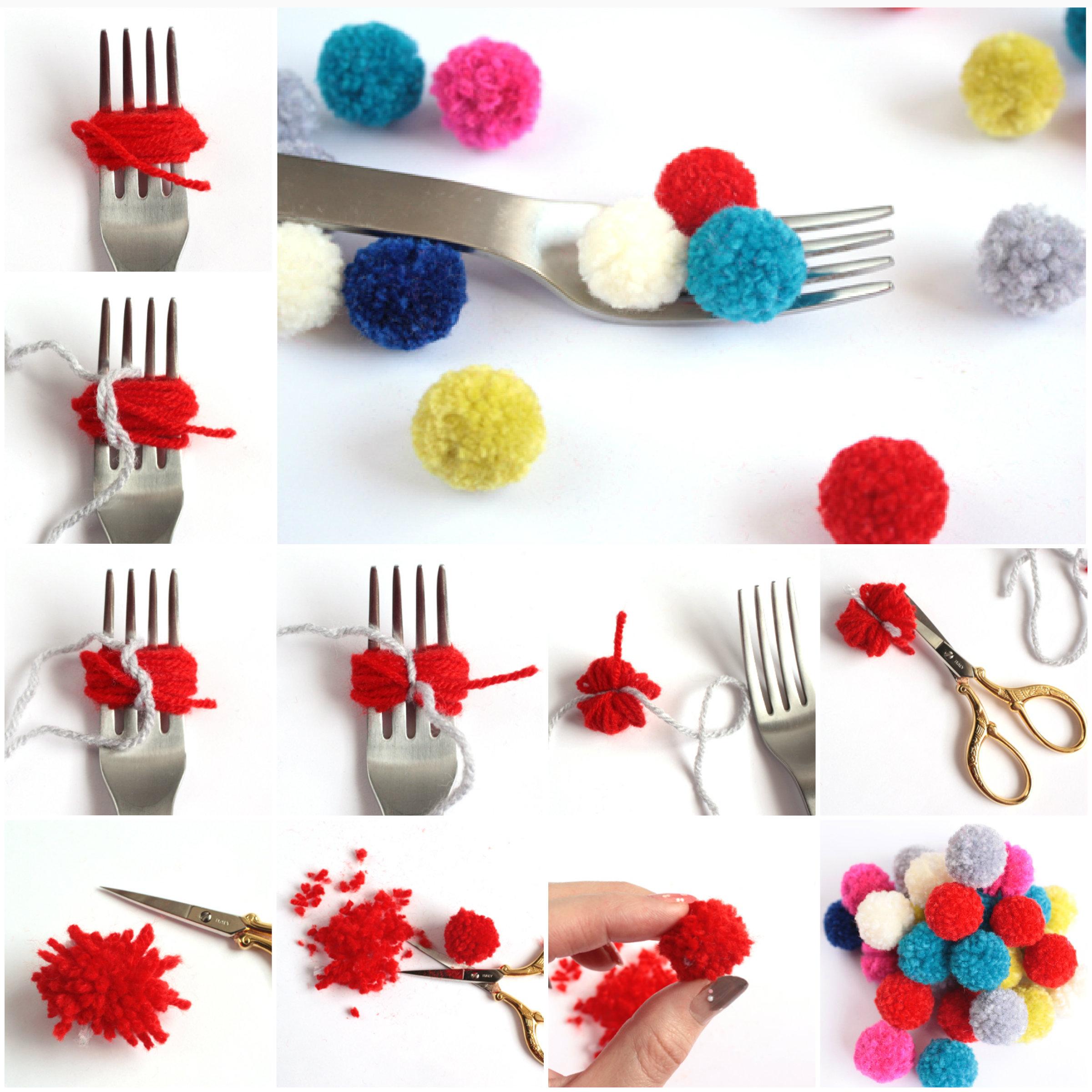 Make-Pom-Poms-with-a-Fork