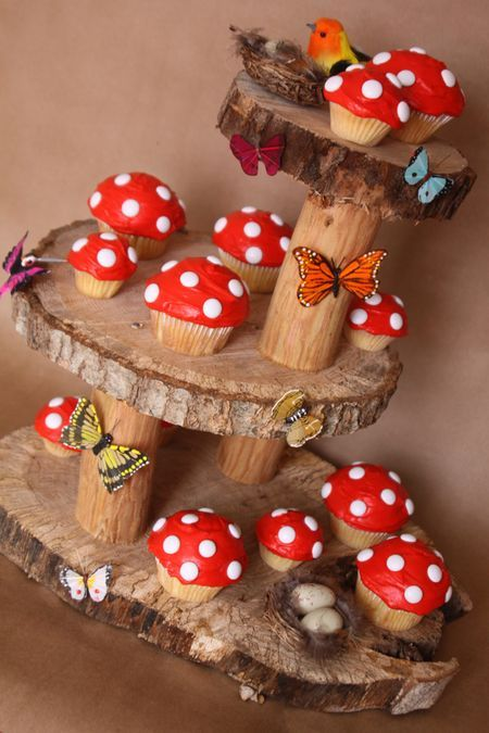 Mushroom Cupcakes and Fairy Garden Stand 2