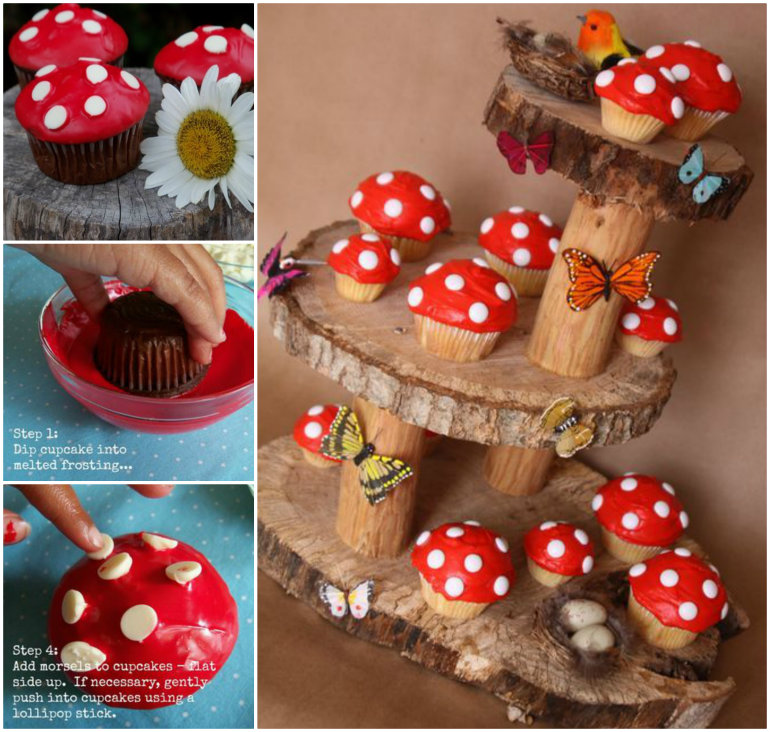 Mushroom Cupcakes and Fairy Garden Stand F Wonderful DIY  Fairy Garden Mushroom Cupcakes
