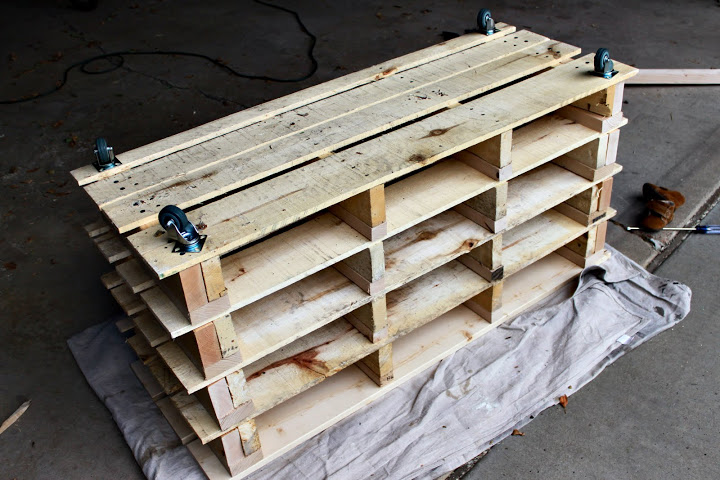 Pallets turned into shoe storage