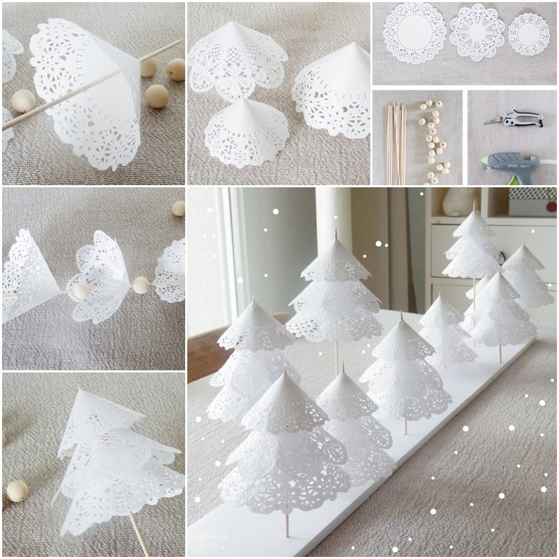 view in gallery paper doily christmas trees wonderful diy cardboard christmas fireplace - Cardboard Christmas Decorations