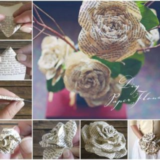 Wonderful DIY Paper Roses from Old Book Pages