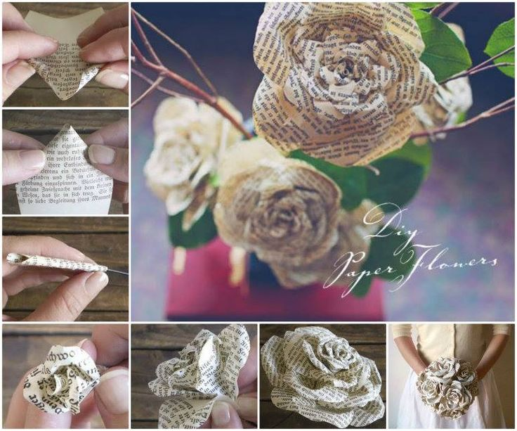 Paper Roses from Storybook Pages Wonderful DIY Paper Roses from Old Book Pages