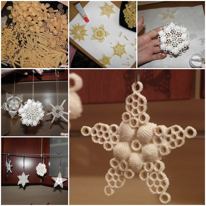 wonderful diy christmas snowflake ornaments using pasta - Snowflake Christmas Decorations