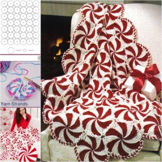 Wonderful DIY Crochet Peppermint Swirl Afghan for Holidays