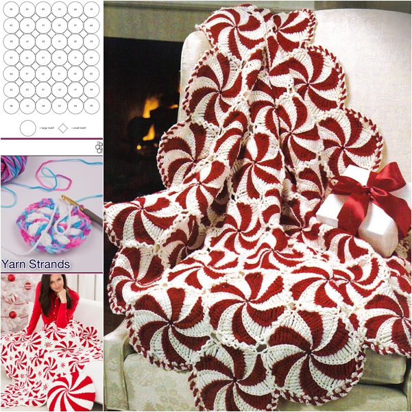 Peppermint Throw free pattern F Wonderful DIY Crochet Peppermint Swirl Afghan for Holidays