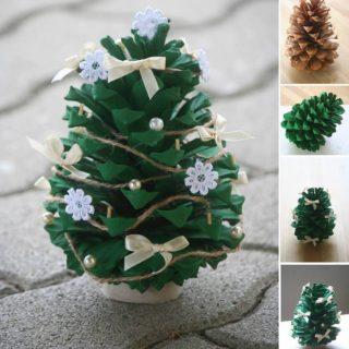Wonderful diy mini folded paper christmas tree diy crafts wonderful diy mini pine cone christmas tree solutioingenieria Image collections