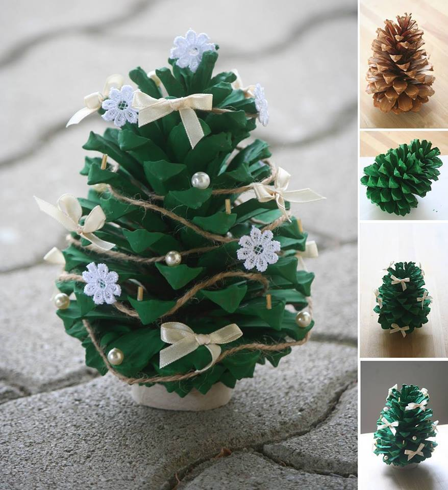 wonderful diy mini pine cone christmas tree - How To Decorate Pine Cones For Christmas Ornaments