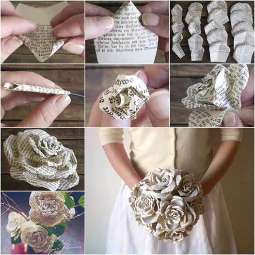 Pretty paper roses made from storybook pages Wonderful DIY Paper Roses from Old Book Pages