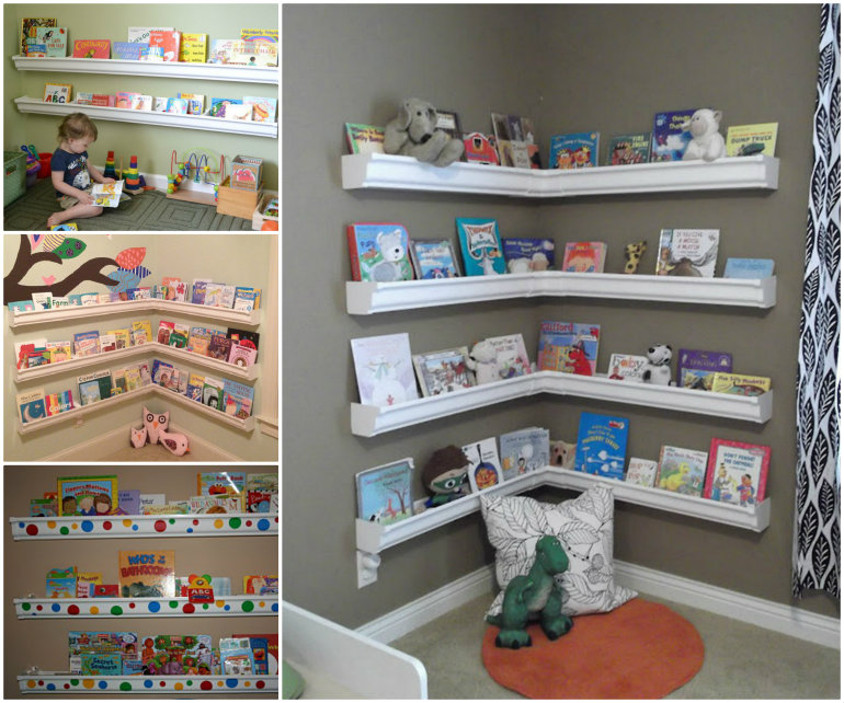 Rain Gutter Bookshelves DIY F   Wonderful DIY Rain Gutter Bookshelves For Kids