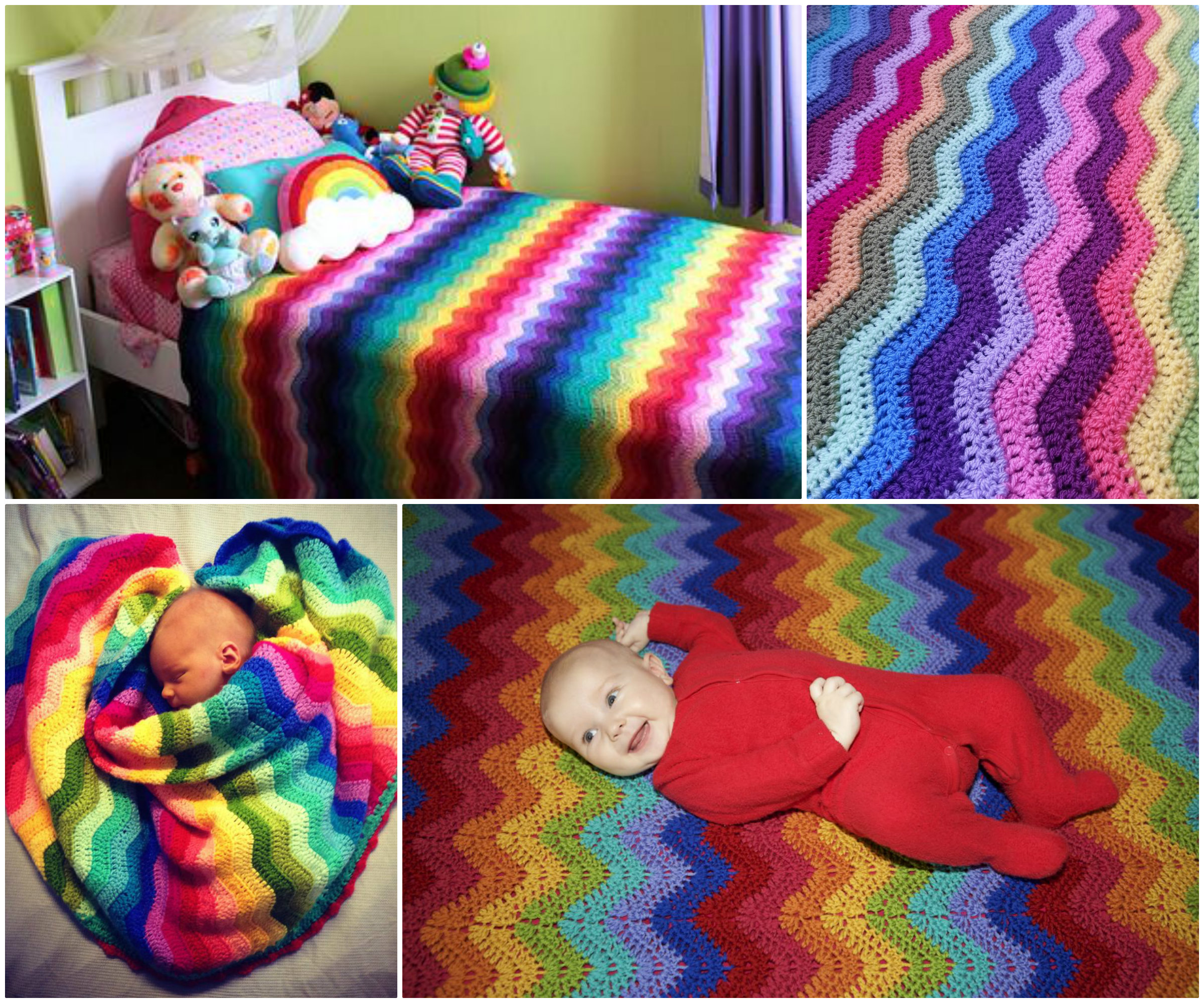 Rainbow Ripple Blanket free pattern diy F Beautifully Colorful Rainbow Ripple Blanket   Free Pattern and Guide
