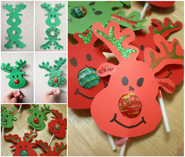 Reindeer Lollypops  Wonderful DIY Adorable Reindeer With Lollipop Nose