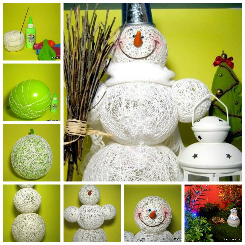 STRING Snowman F2 Wonderful DIY Decorative String Chandelier With Yarn and Balloon