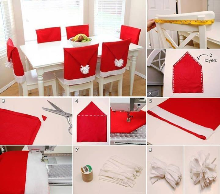 Santa Hat Kitchen Chair Covers