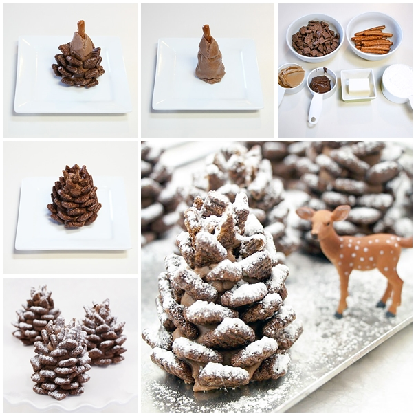 Wonderful DIY Edible Snowy Pinecones With Chocolate