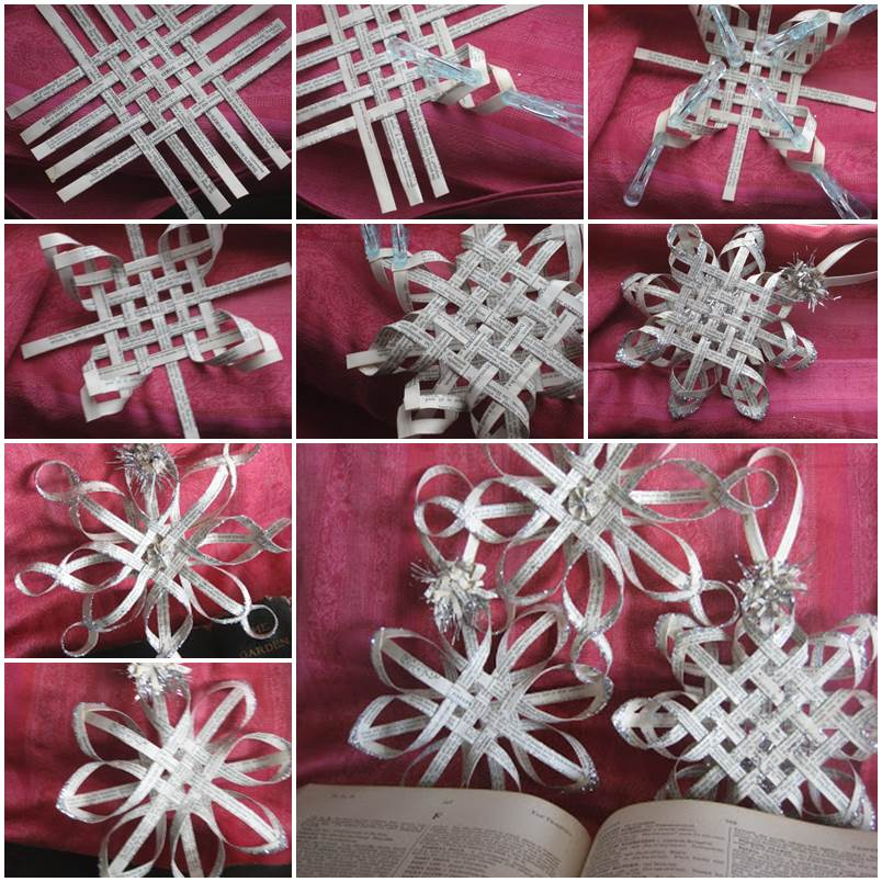 Woven Paper star Snowflakes DIY F1 Wonderful DIY Woven Paper Star Snowflake Ornaments