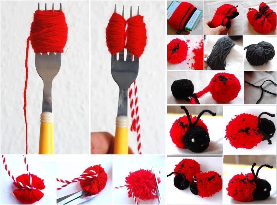 Yarn pom pom Lady-Bug DIY F