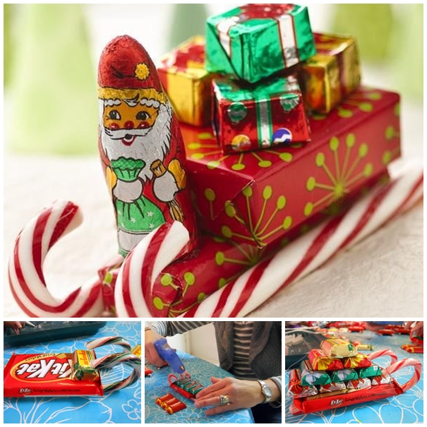 candy cane sleigh christmas DIY F