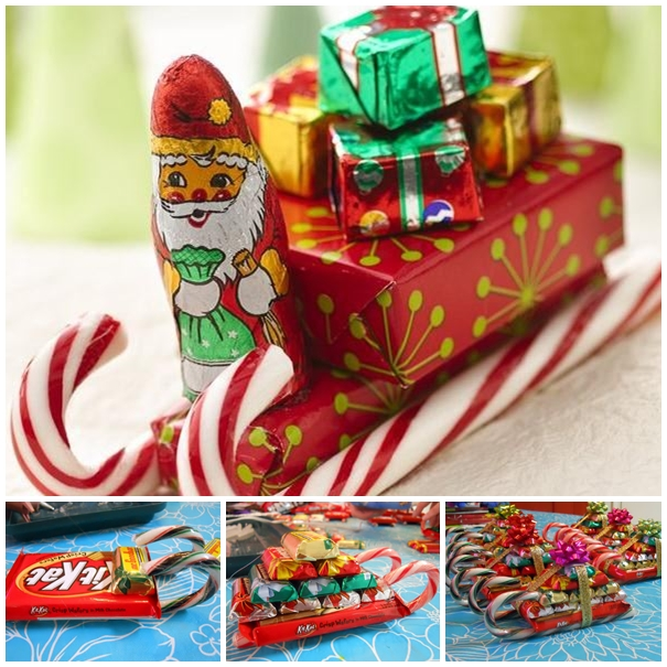 candy cane sleigh christmas DIY F2 Wonderful DIY Sweet Chocolate Christmas Tree Gift