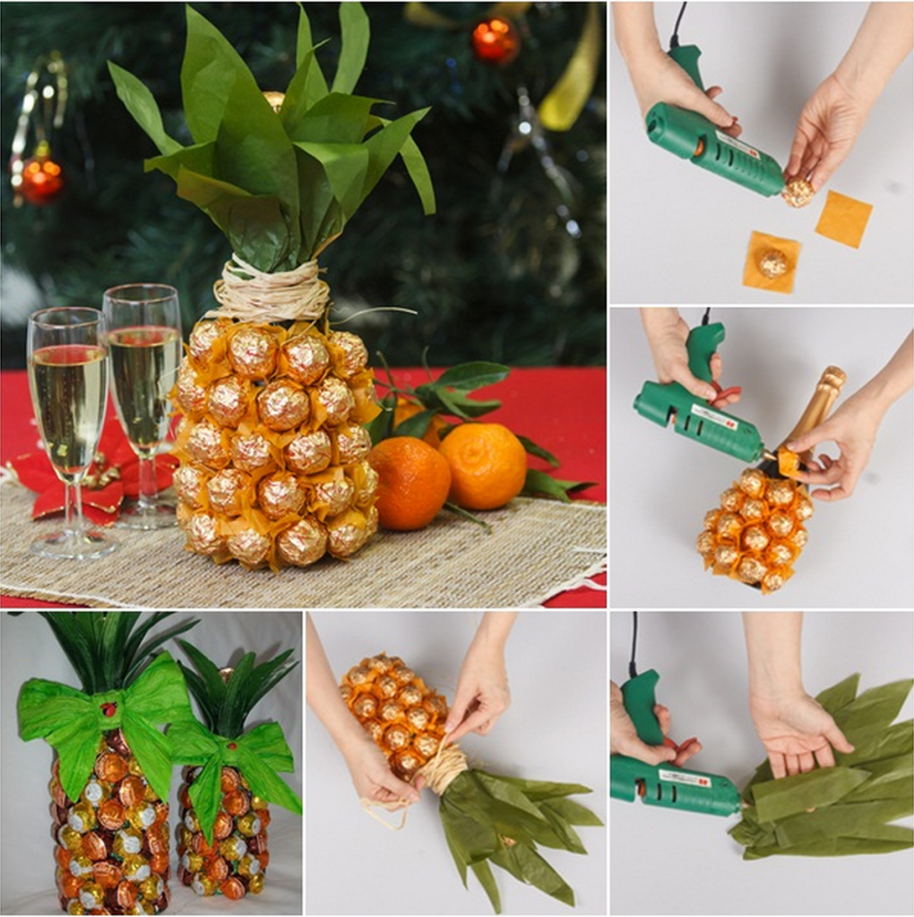 chocolate champagne pineapple Wonderful DIY Pineapple Shaped Gift  With Chocolate and Champagne
