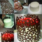 Wonderful DIY Chocolate Lace Cake