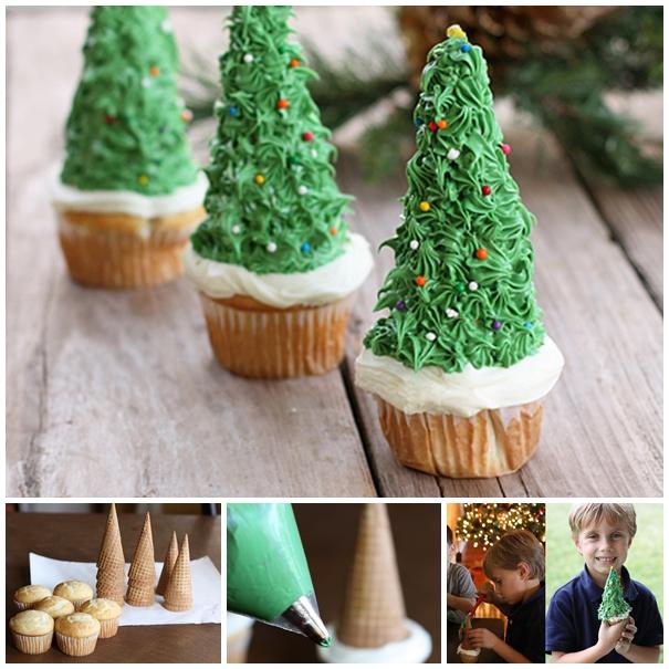 christmas-tree cupcake diy F
