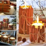 Wonderful DIY Christmas Candles With Pine leaf & Cinnamon Stick