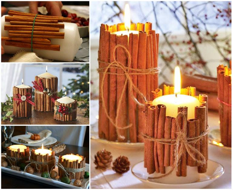 cinnamon stick candles DIY Wonderful DIY Christmas Candles With Pine leaf & Cinnamon Stick