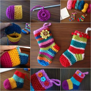 Wonderful DIY  Rainbow Crochet Christmas Socks with Free Pattern