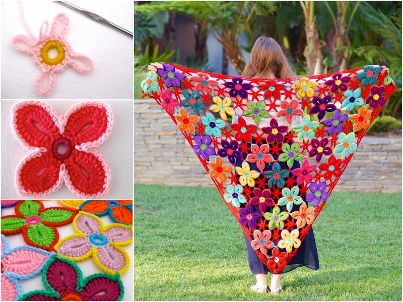 crochet Hawaiian Flowers Wonderful DIY Crochet Lace Shawl