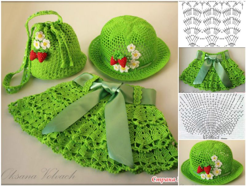 crochet girl skirt hat set Cutest Crochet Skirt, Hat and Bag Set for Little Girls   Free Pattern