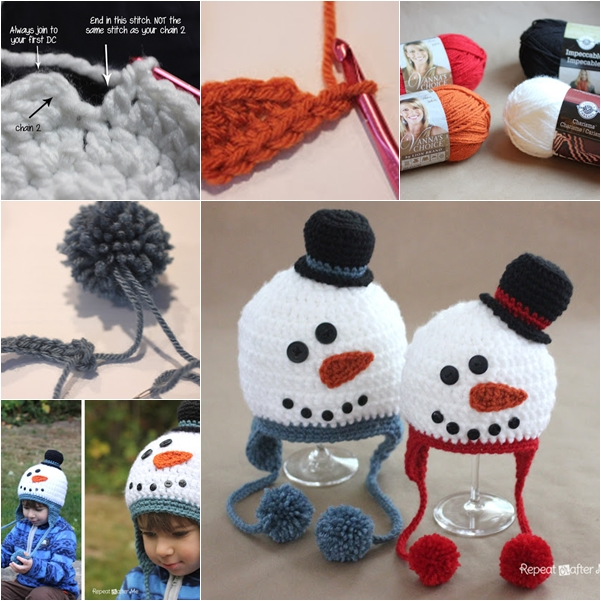 crochet snowman hat free pattern F  Wonderful DIY Adorable Crochet Snowman Hat with Free Pattern