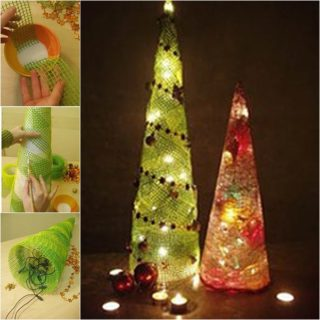 wonderful diy cute mesh christmas tree - Christmas Tree Mesh Ribbon
