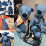 Wonderful DIY Upcycled Denim Teddy Bears