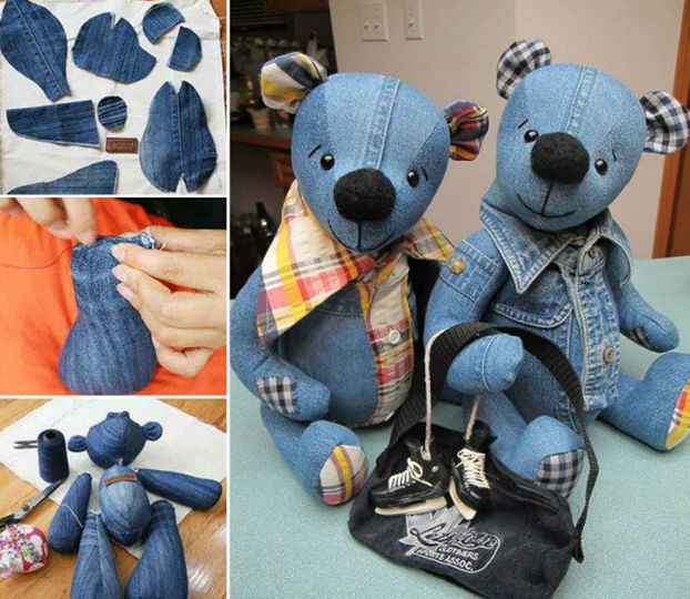 demin tedding bear Wonderful DIY Upcycled Denim Teddy Bears