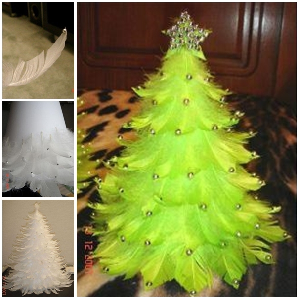 wonderful diy unique feather christmas tree - Feather Christmas Tree Decorations