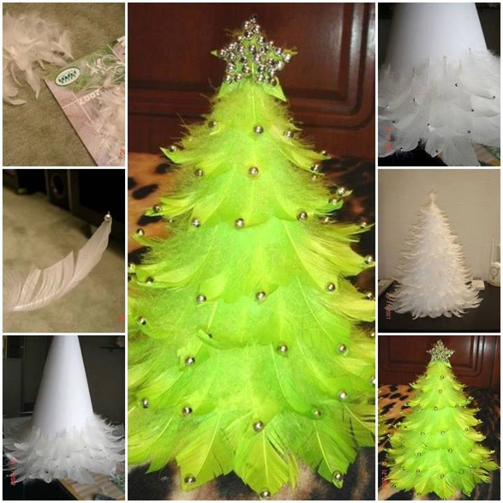 feather tree Wonderful DIY Unique Feather Christmas Tree