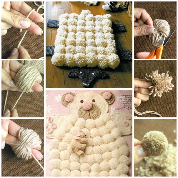 finger pom poms rug F Wonderful DIY Super Easy Finger Pom poms