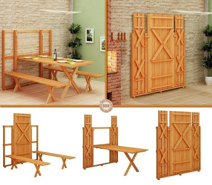 fold down picnic table Wonderful DIY Space Saving Fold Down Picnic Table