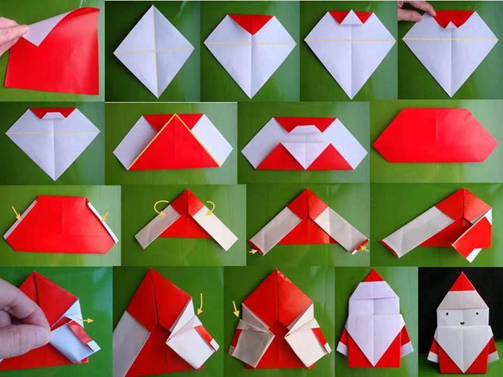 folded origami Santa F Wonderful DIY Cute Folded Origami Santa